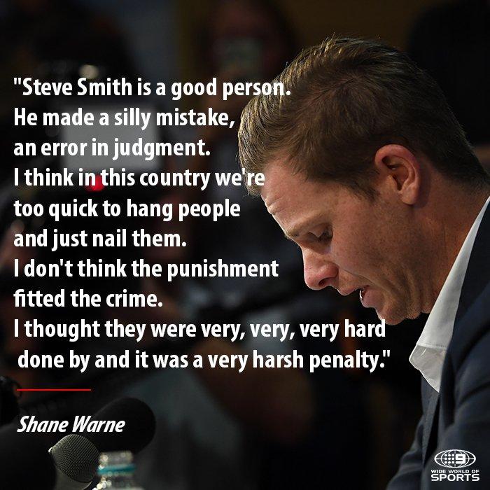 Shane Warne critiques Cricket Australia's harsh punishment of that scandal.   #9WWOS