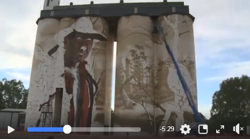 South Australia's Wirrabara has painted itself onto the map with an amazing new silo artwork. Artist @SomeMug, aka Sam Bates spent three weeks in a boom lift to perfect his creation 💕 WATCH TIME LAPSE VIDEO https://t.co/u8KGpt5kdW  #Wirrabara #Siloart #SouthAustralia