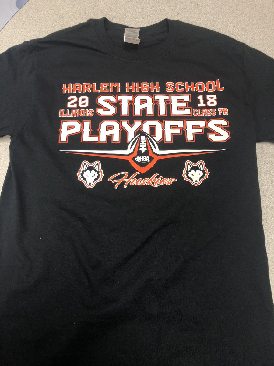 6b326405 Harlem Football Play-off t-shirts are IN! Shirts will be on sale tomorrow  morning at 8:00 in Athletics while supplies last. $12 gets you one.