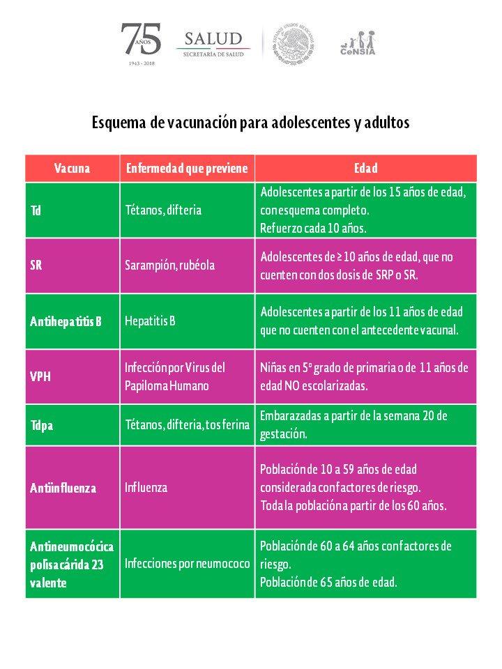 esquema de vacunación para adultos
