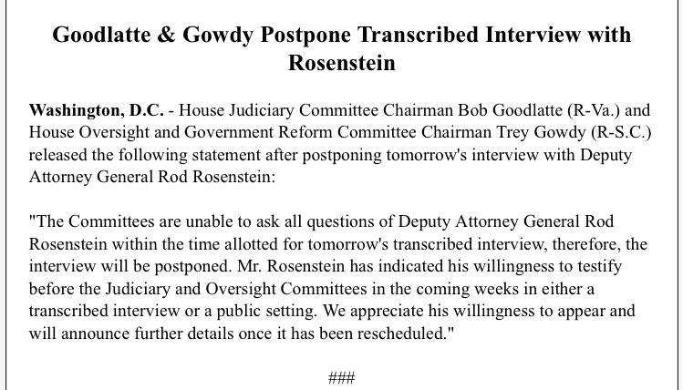 Rosenstein interview with House committees POSTPONED