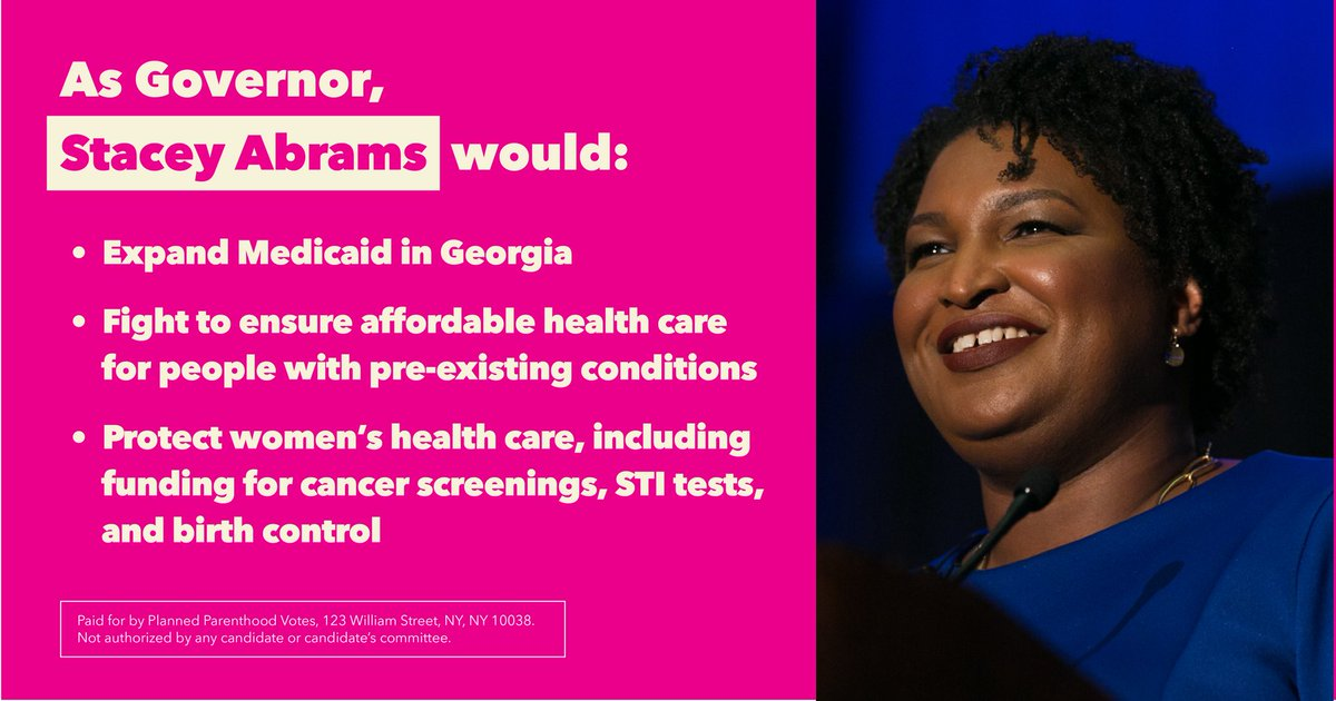 Stacey Abrams is the candidate for #GAGov who would fight to expand Medicaid — sustaining hospitals in jeopardy of closing & protecting health care access for rural Georgians. Learn more: https://t.co/ppH0ampNOl