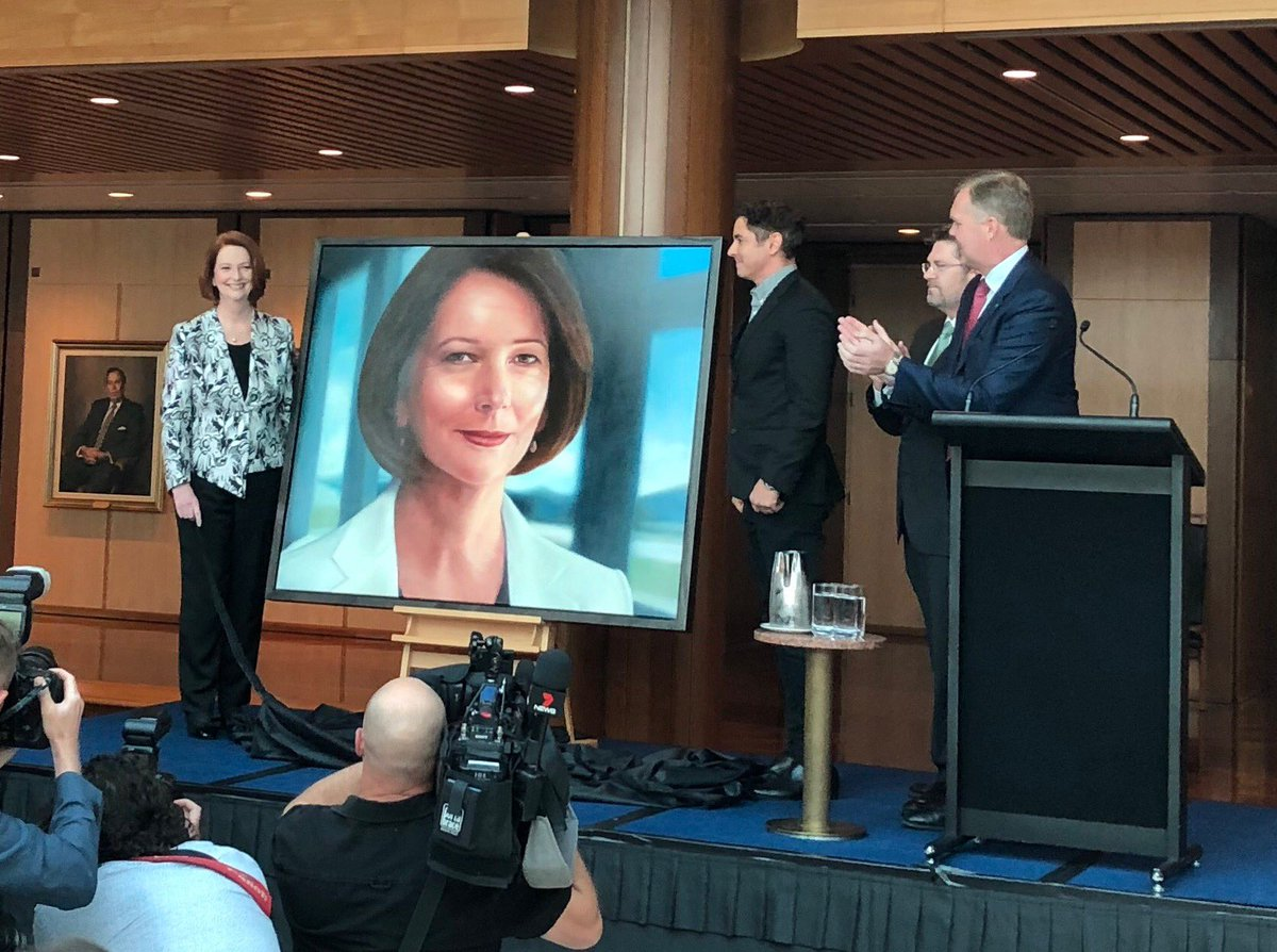 Julia Gillard's PM portrait. As with the subject, it's unlike any of its predecessors. #auspol