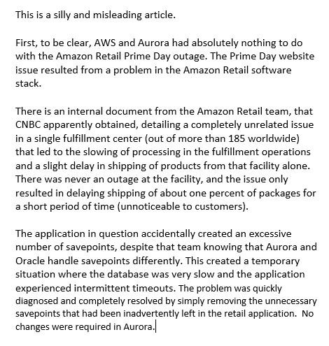 """Never let facts interrupt a 'good story."""" Tried to help reporter get it right, but clickbait won (https://t.co/4iiy2lGbQd). Our Fulfillment Centers have migrated 92% of DBs from Oracle to Aurora with better avail, less bugs and patches, less troubleshooting, less hw cost. More:"""