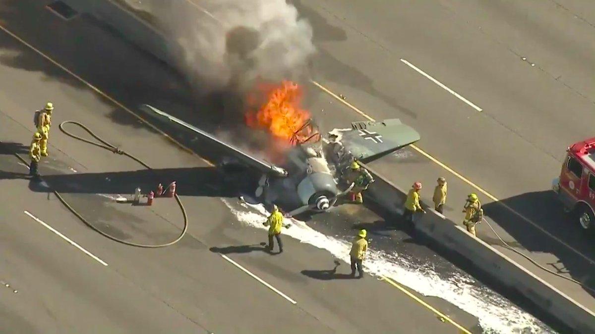 Uh, a fighter plane with World War II-era Nazi insignia just crashed in California https://t.co/HJj2nej7ov