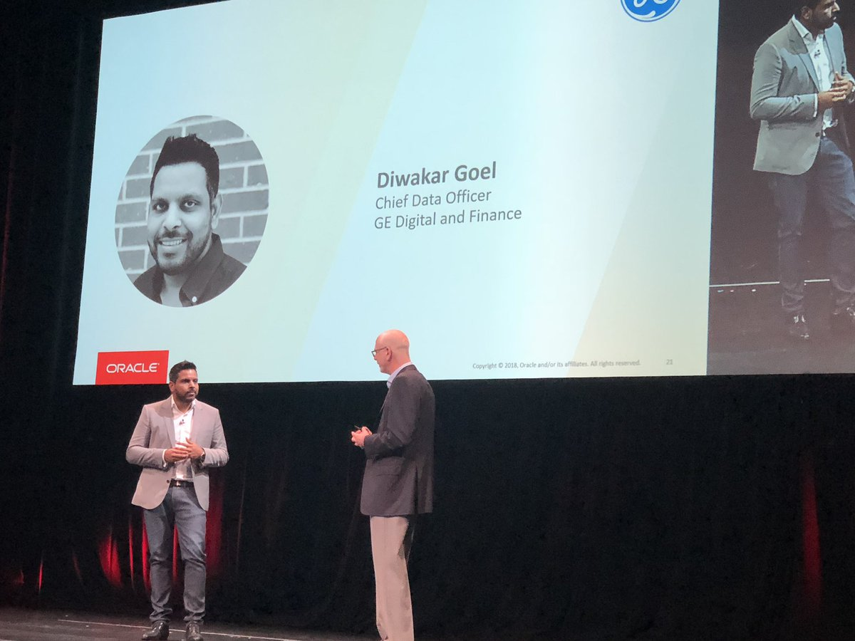 GE CDO for Digital and Finance Diwakar Goel shares how GE built Finance Data Lake using @OracleBigData at @oracleopenworld<br>http://pic.twitter.com/eaqovDHYiy