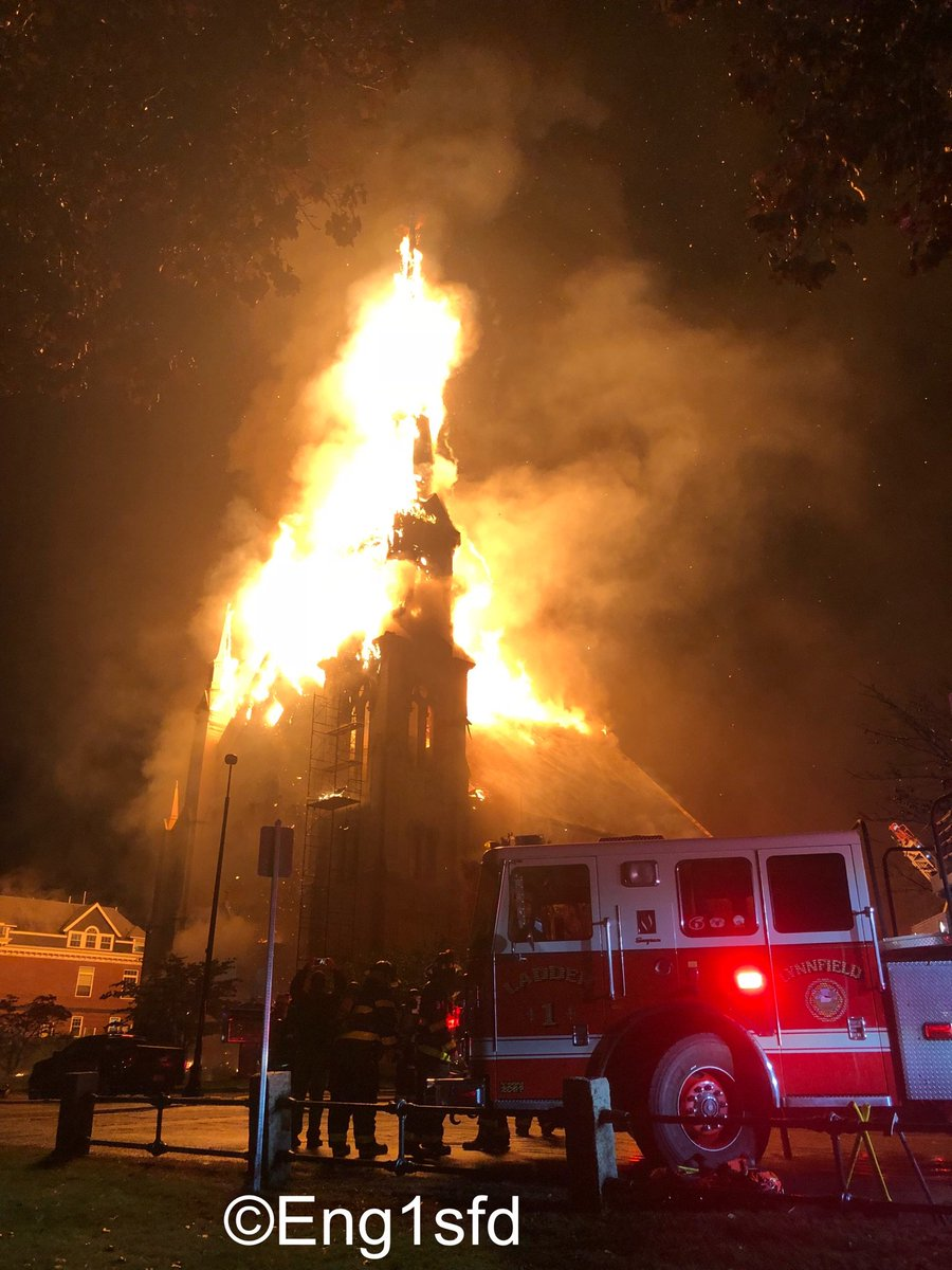 Wakefield Ma 7 Alarms Ultimately Transmitted For The Fire 8 Lafayette St The First Baptist Church The Building Was Apparently Struck By Lightning And