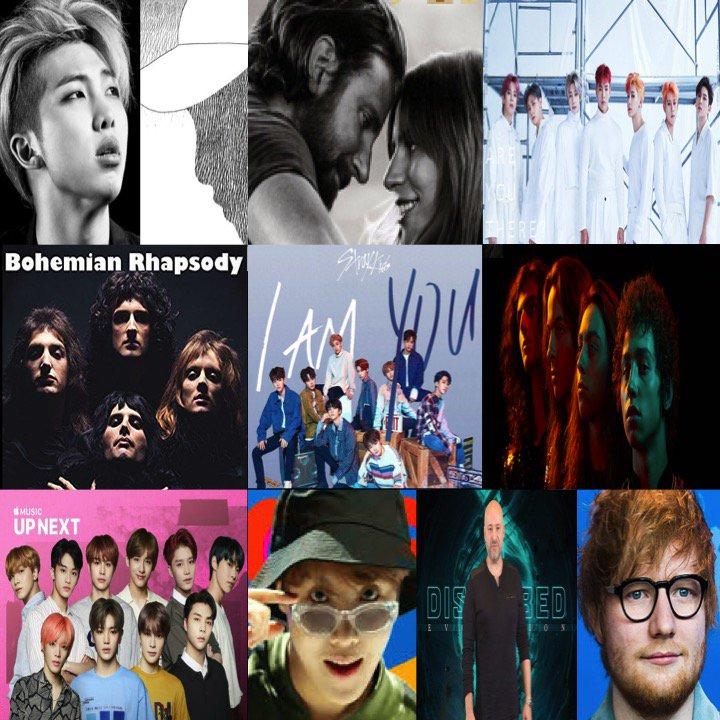 TOP 10 ALBUMS ON 🌎 ITUNES TODAY 1⃣mono. #RM 2⃣AStarIsBorn #LadyGaga  3⃣Take.1AreYouThere #MONSTAX 4⃣BohemianRhapsody #Queen 5⃣IamYOU #StrayKIds 6⃣AnthemOfThePeacefulArmy #GretaVanFleet 7⃣UpNextSession:NCT127 #NCT127 8⃣HopeWorld #JHOPE  9⃣Evolution #Disturbed 🔟÷ #EdSheeran