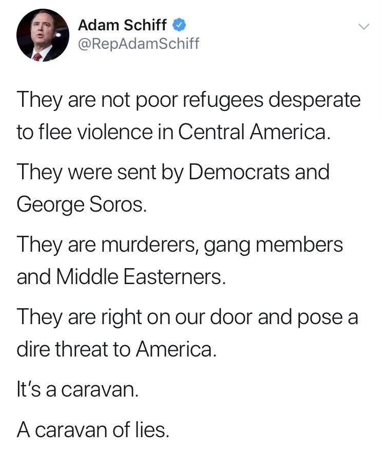 Yes, I was being sarcastic, but if my previous tweet was too convoluted let me be crystal clear:  These are but a few of the most egregious lies being told about those fleeing violence and risking everything to seek a better life. Trump merely seeks to exploit their desperation.