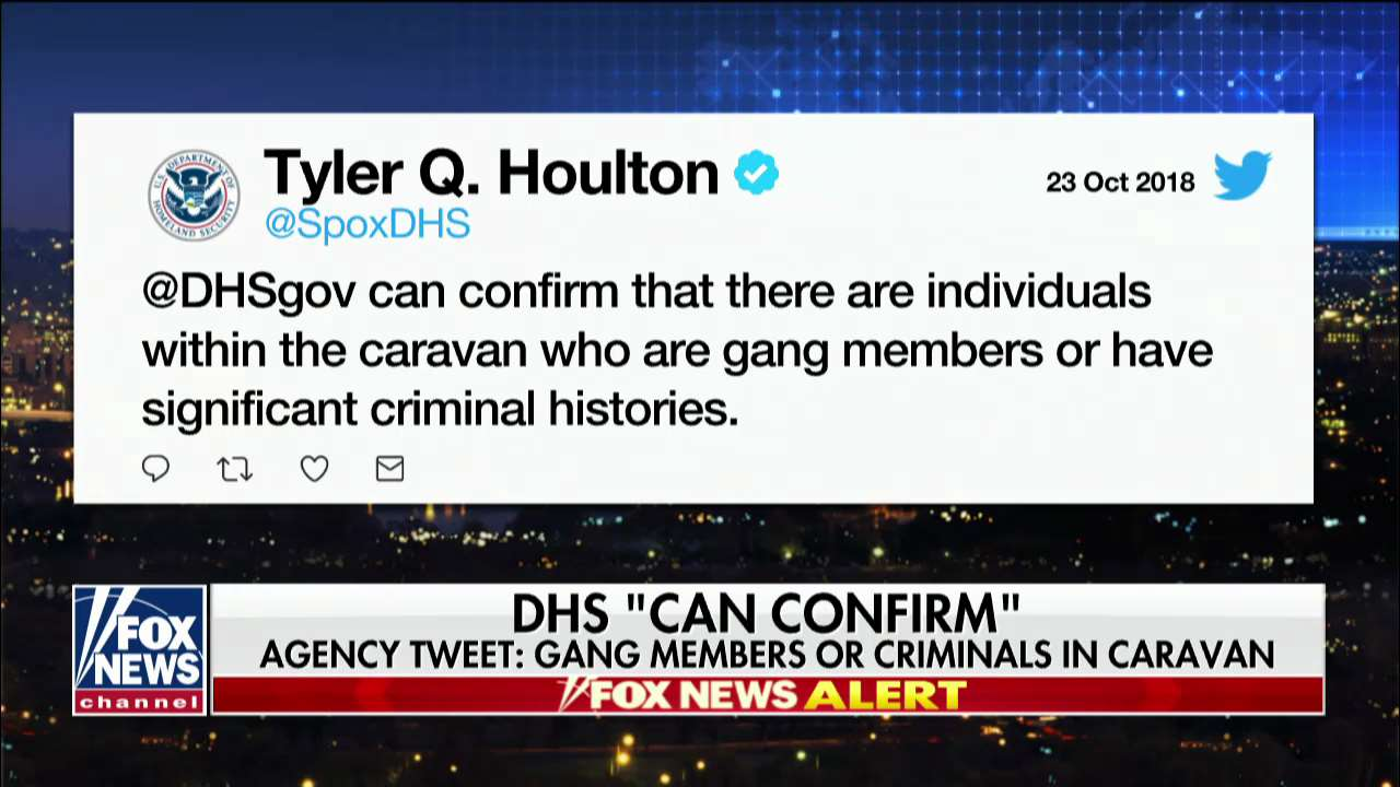 "DHS ""can confirm"" gang members or criminals in caravan @foxnewsnight https://t.co/vRKDBAbTGj https://t.co/7nN0YfR7wj"