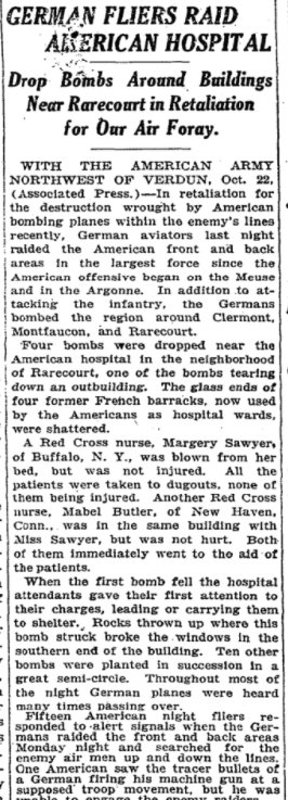 Oct 23, 1918 - New York Times: German planes bomb American hospital in France #100yearsago