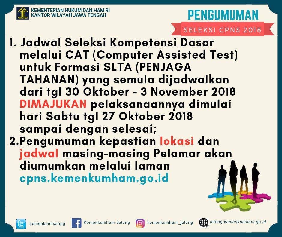 Jadwal dan Lokasi Tes SKD CPNS KEMENKUMHAM 2018 Peserta Lulus Seleksi Administrasi SSCN.