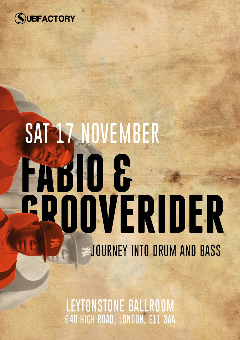 Get your tickets right now for the Godfathers of Drum & Bass - Fabio and Grooverider @fabioandgroove at RedLione11 Sat 17 Nov 9pm til 2am Buy tickets here ow.ly/awqC30mhBuG
