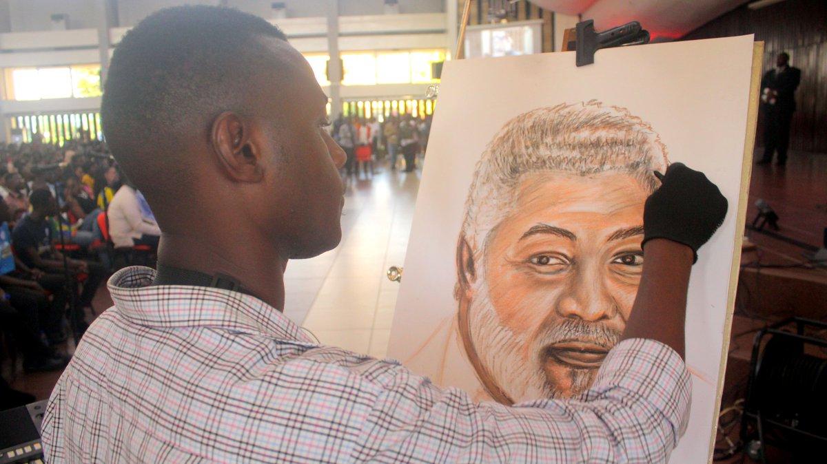 Innovate quick sketch 15mins life drawing of h e jerry john rawlings on stage jj rawlings thenanaaba nhyira1045fm ksm kwaku misa mariokenz