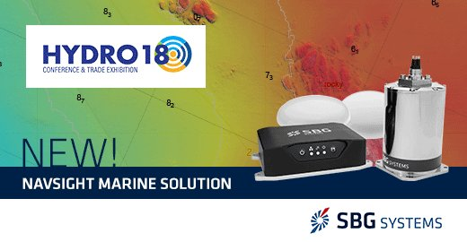 Visit SBG Systems next week booth #14 during Hydro 18 in Sydney. Jérémy will present you our whole range of Inertial #Navigation Systems ideal for #Hydrography, including our new Navsight Marine solution —> http://bit.ly/2yV7HyT