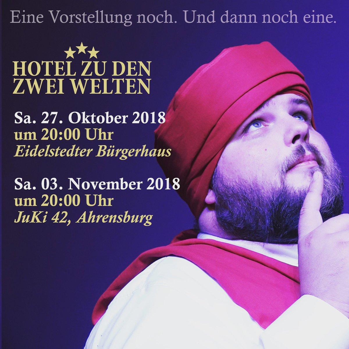 Unser Magier Radshapur hat nachgerechnet, wir haben noch zwei Vorstellungen in diesem Jahr. Und - kaum zu glauben - es gibt noch Karten. Auf gehts!  #theater #ahrensburg #eidelstedt #theatermimus #hotelzudenzweiwelten #esgibtnochkarten #schauspiel #hamburgpic.twitter.com/F3hp0k3Z7J