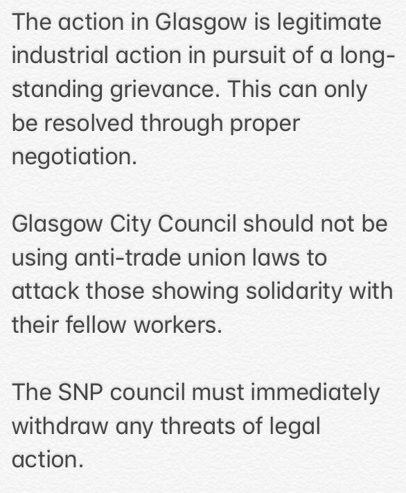 My statement on the SNP council in Glasgow taking legal action against workers refusing to cross picket lines #GlasgowWomensStrike