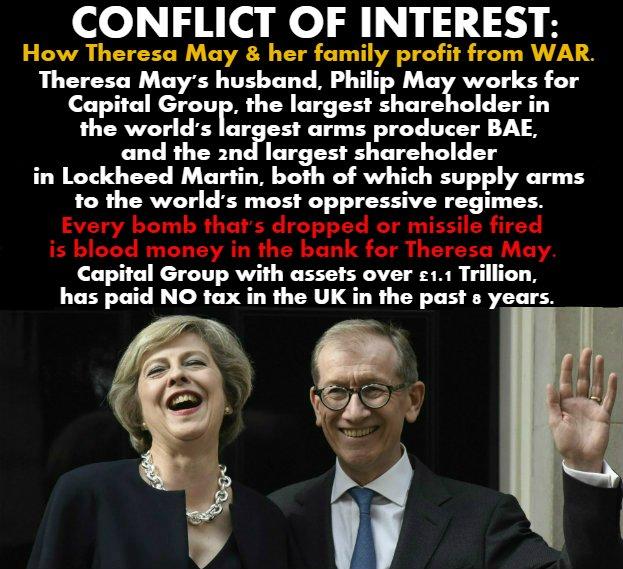 Theresa May and husband: War profiteers