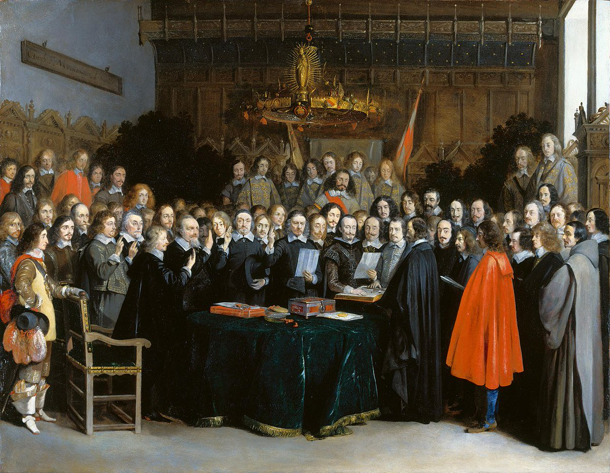 After months of negotiations, #OTD in 1648 the Peace of Westphalia is concluded, ending 30 years of war between Protestant and Catholic princes within the Holy Roman Empire  PC: Gerard ter Borch (1648)