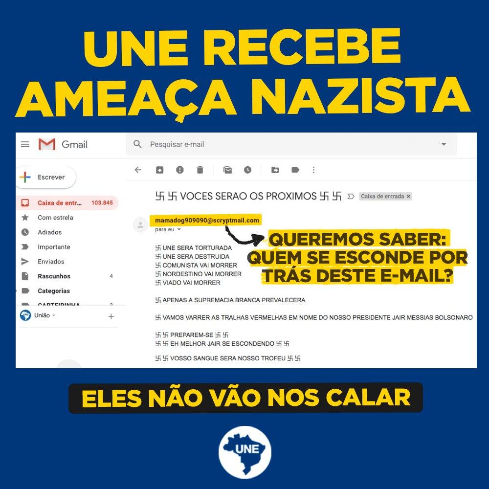 URGENTE! UNE RECEBE AMEAÇAS NAZISTAS!  Depois de sofrermos um processo por parte do candidato Jair Bolsonaro, recebemos ameaças graves de cunho nazista de pessoas não identificadas através do nosso e-mail institucional.  #EleNãoVaiNosCalar