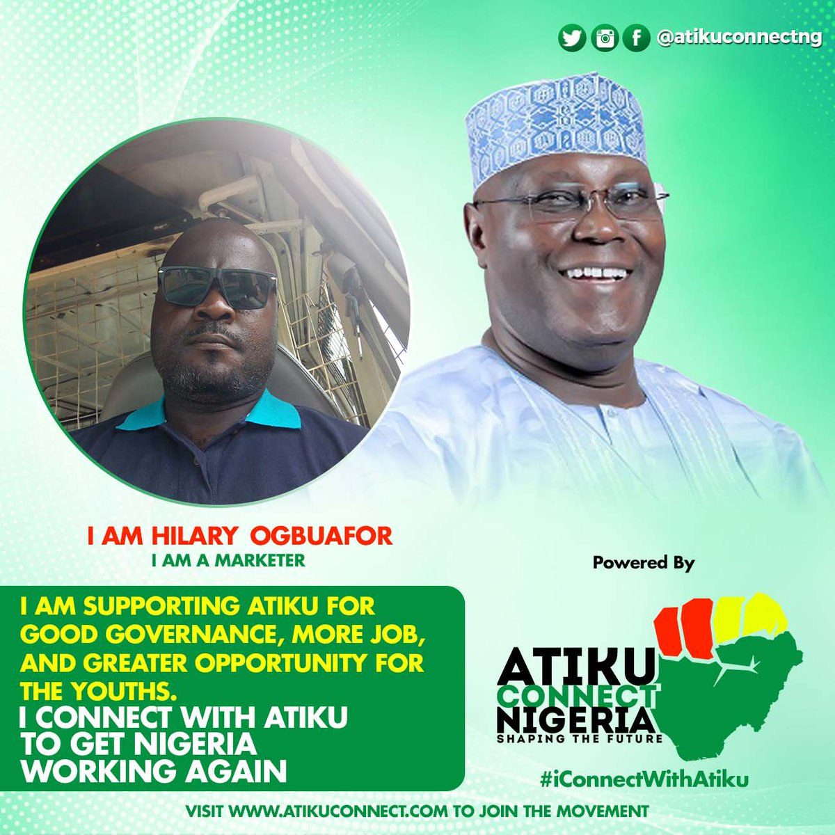 #iConnectWithAtiku for good governance, more Job, and greater opportunity for the youths. #AtikuConnect #AtikuConnectNigeria #AtikuObi2019 #LetsGetNigeriaWorkingAgain @atiku @VOTERIGHT2019 @YouthsForAtiku @OGBUAFORHILARY <br>http://pic.twitter.com/rBhjxu6Djh