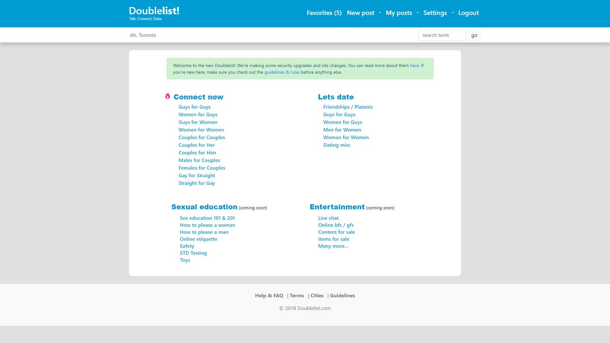 #doublelist is the new #craigslist #backpage #Toronto pic.twitter.com/3MVpgovPwE
