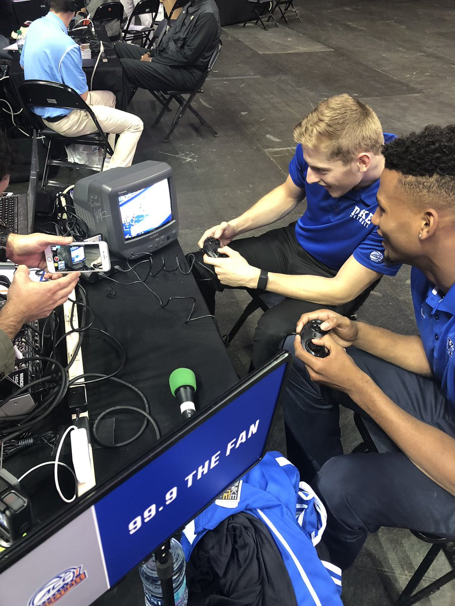 """.@joeovies: """"A-button is to shoot. B is to pass.""""  @5jackwhite: """"We don't need B.""""   Guys playing Coach K's 1995 SEGA video game at #ACCMediaDay"""
