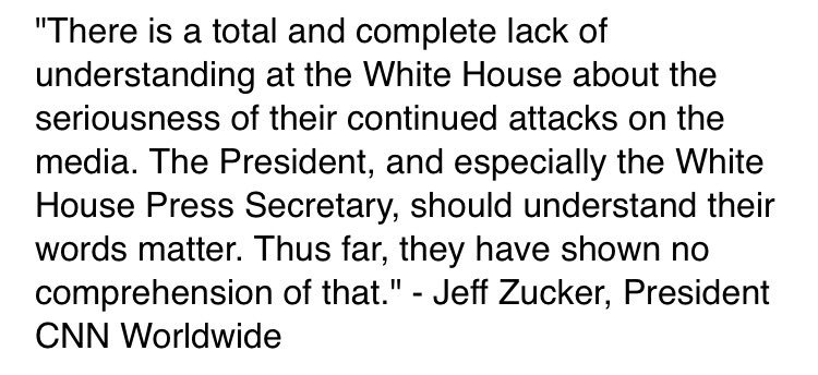 Statement from CNN Worldwide President Jeff Zucker: