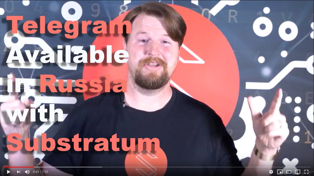 ... use @telegram within #Russia using the next generation #blockchain  based decentralized #Substratum https://youtu.be/Ph7yXwdNHYc $sub  #InternetCensorship ...