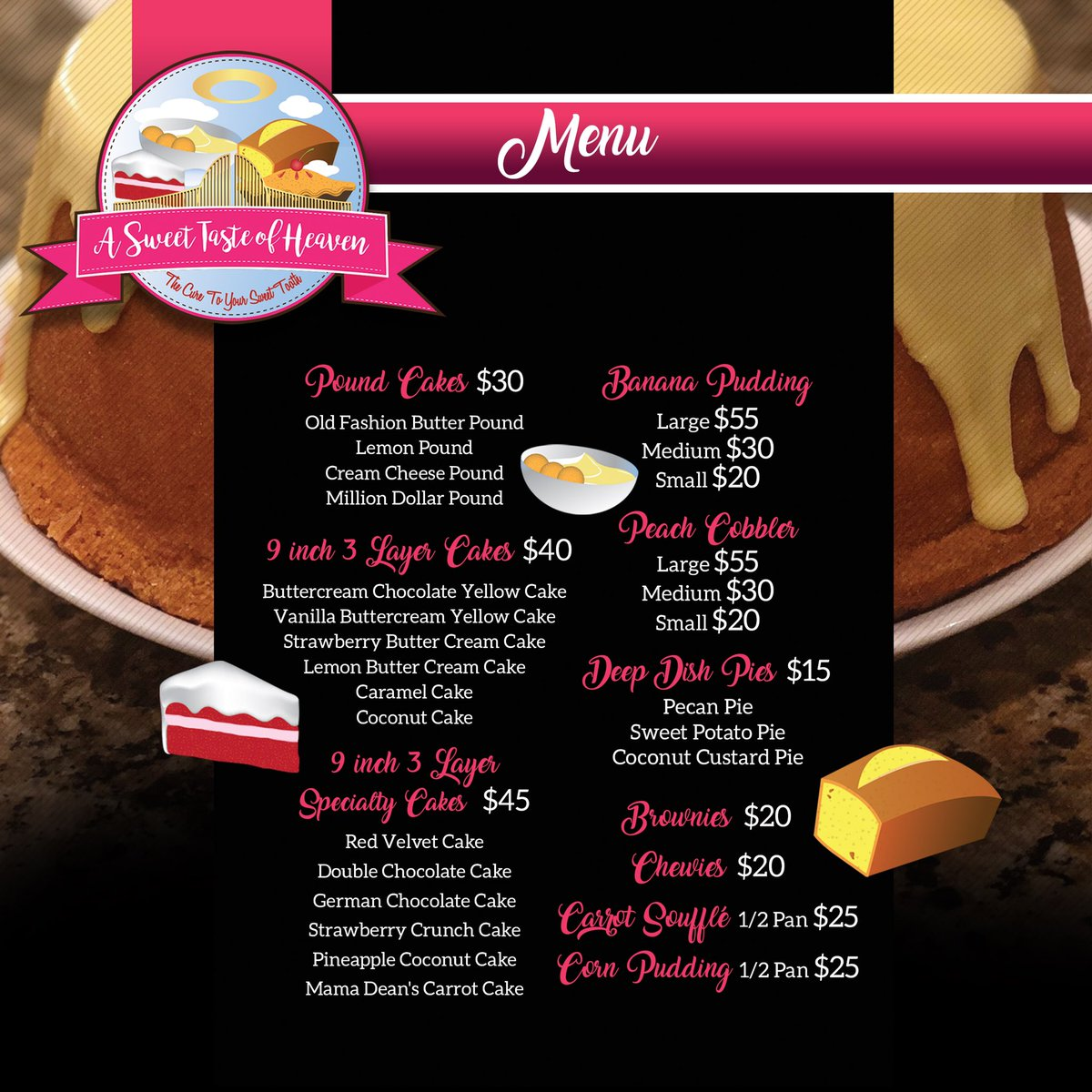 The anticipation is over! Now introducing A Sweet Taste Of Heaven's official revamped Menu Who said Soul Food was just for Sunday dinner?!!! Experience some Homemade GOOD Country Style Cooking!! Order away!! Menu designed by  @ATasteofThought #ASweetTasteOfHeaven #Catering<br>http://pic.twitter.com/V9UxoXfeRg