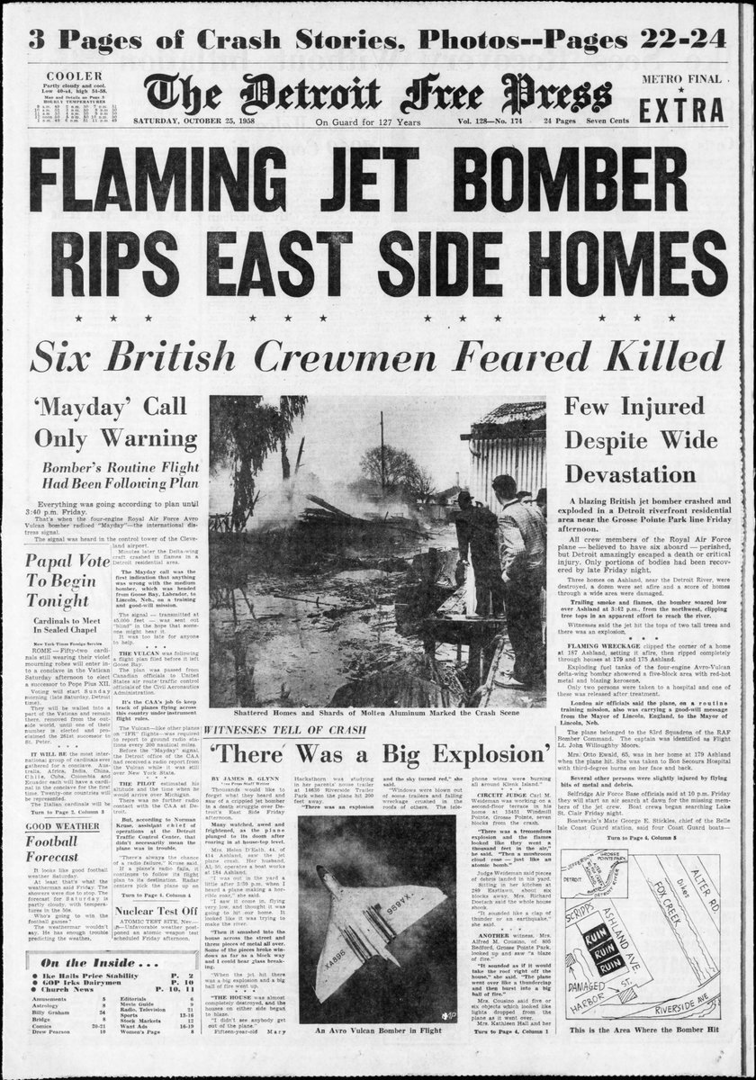 1958: British Vulcan Jet Crashes Into Detroit