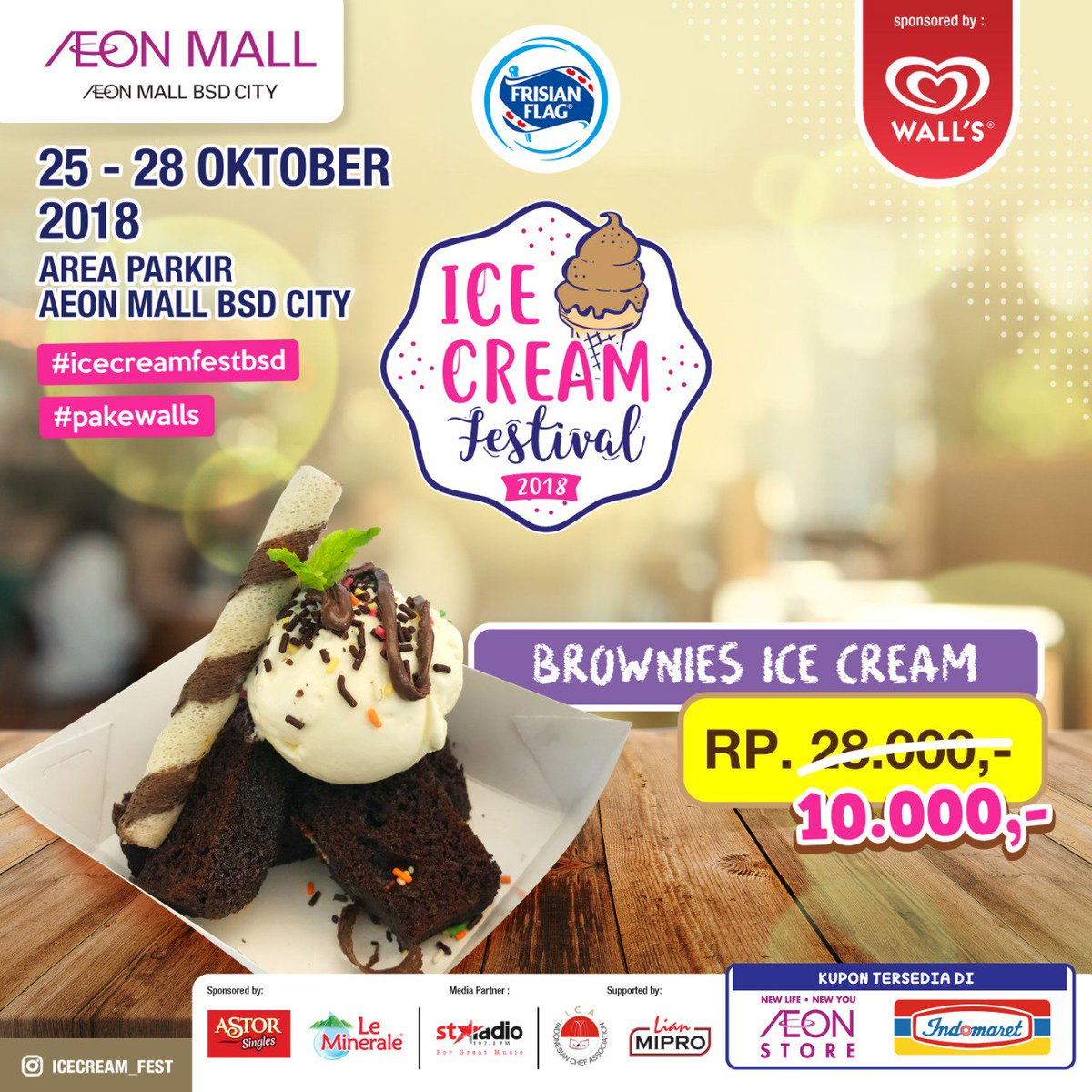 Cuma Rp 10.000,- lho Dimana lagi kalo bukan di Ice Cream Festival dari  tanggal 25-28 Oktober 2018 pukul 14.00pic.twitter.com/13orSbrFih