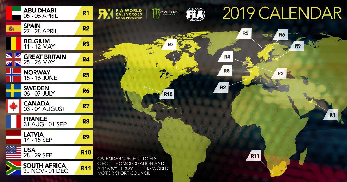 Calendrier Rallycross 2021 Championnat Du Monde Rallycross   Le calendrier 2019 dévoilé, cinq pistes F1 au programme