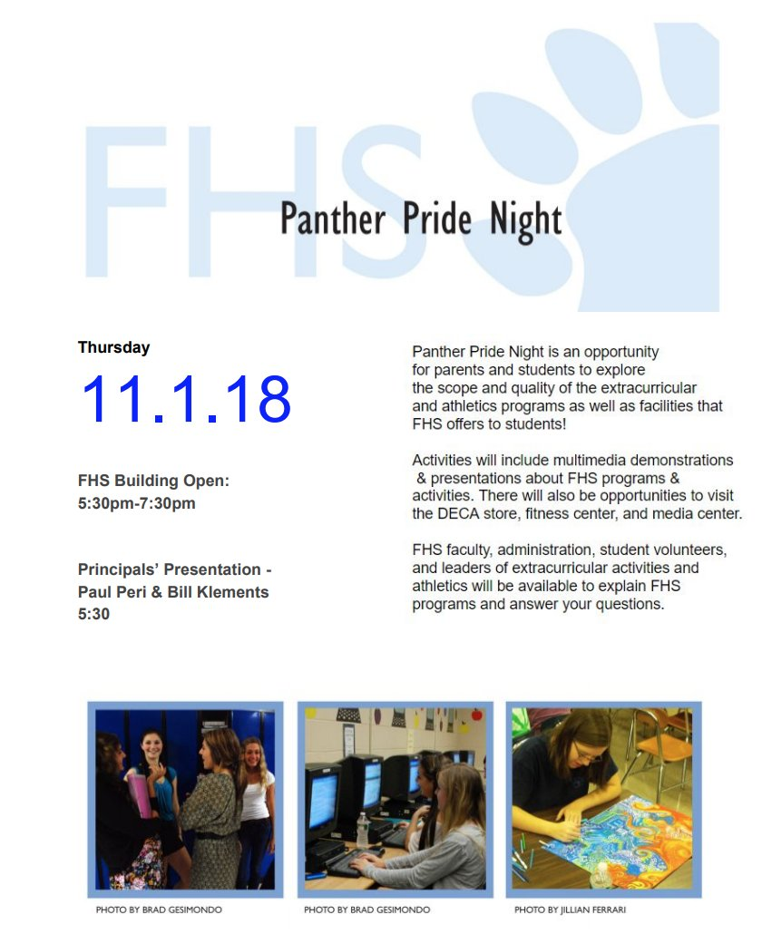 Attention 8th Graders: FHS Panther Pride Night - Nov 1