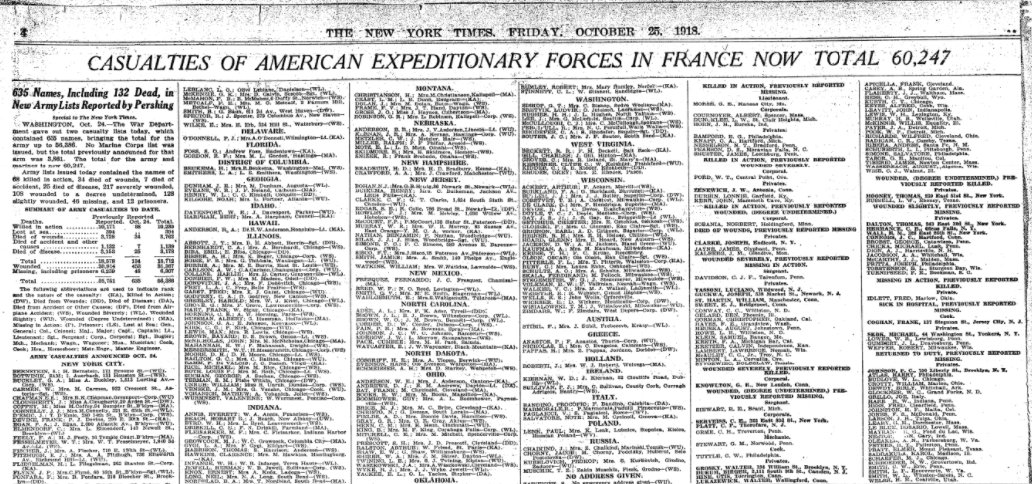 Oct 25, 1918 - New York Times: US casualties in France now top 60,000 #100yearsago