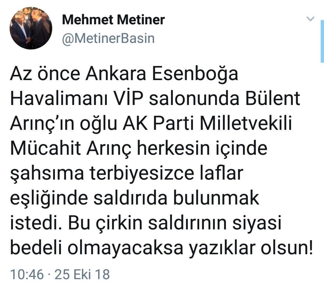 Metiner, Bülent Arınç'ın oğlunun kendisine hakaret ettiğini yazmış. İlginç olan AKP'lilerin Metiner'e bu durumu sosyal medyada duyurduğu için çemkirmeleri. Ancak hiçbir AKP'li Mehtap Yılmaz ile Mehmet Metiner'in Arınç'ı sosyal medyada maymun ederkenki performanslarına değinmiyor.