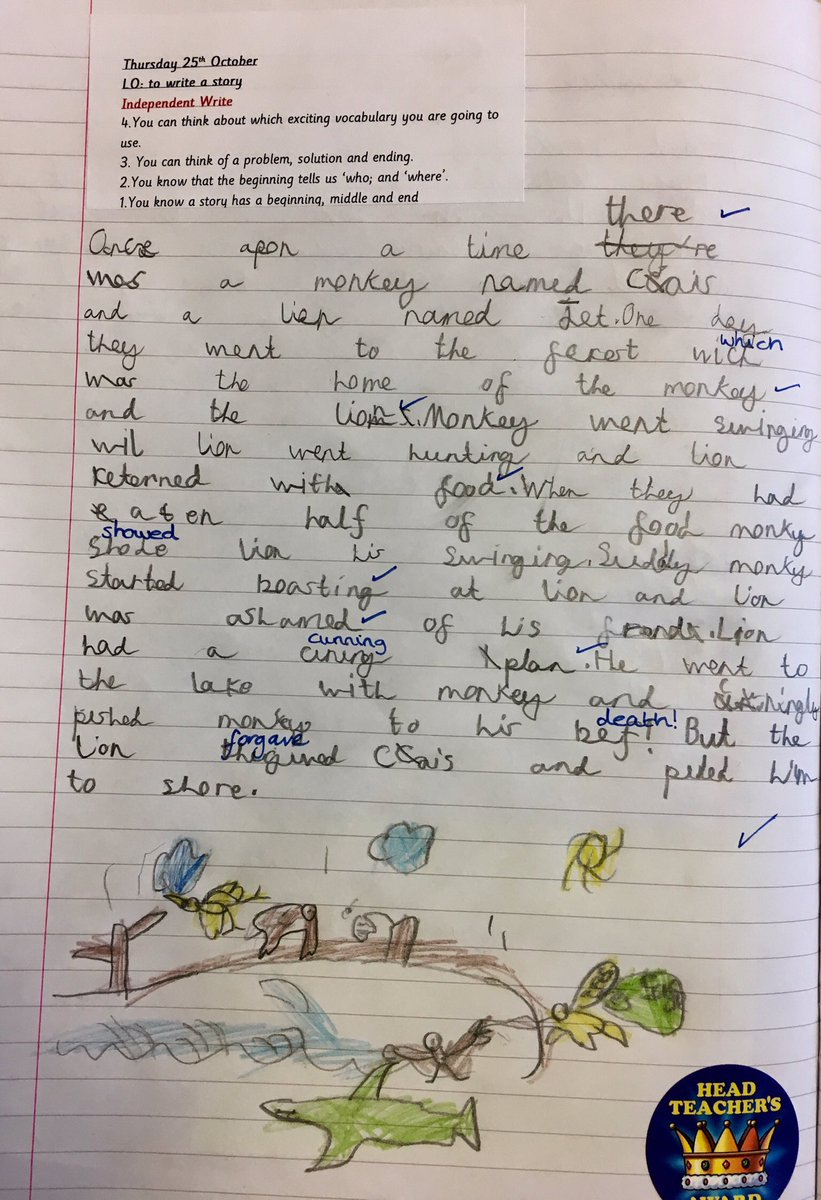 Year 2 pupil NS wrote an excellent story about a foolish monkey and
