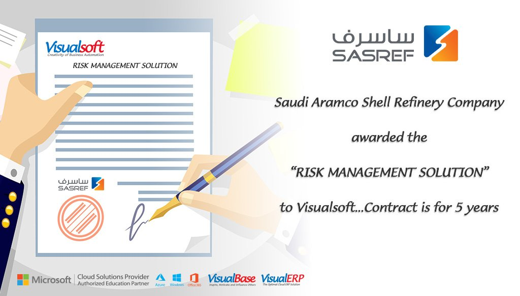 Saudi Aramco Shell Refinery #SASREF awarded Risk Management Solution (#VisualRM) contract to #Visualsoft for 5 years cont...