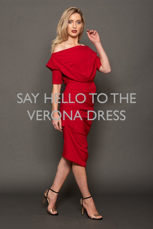 230b270dba Verona Dress - Pleat Shoulder Dress in Red Crepe Shop now at  http   www.jolaby.co.uk Wholesale  01484928000 office jolaby.co.uk  red   jolabyltd  atomlabel ...