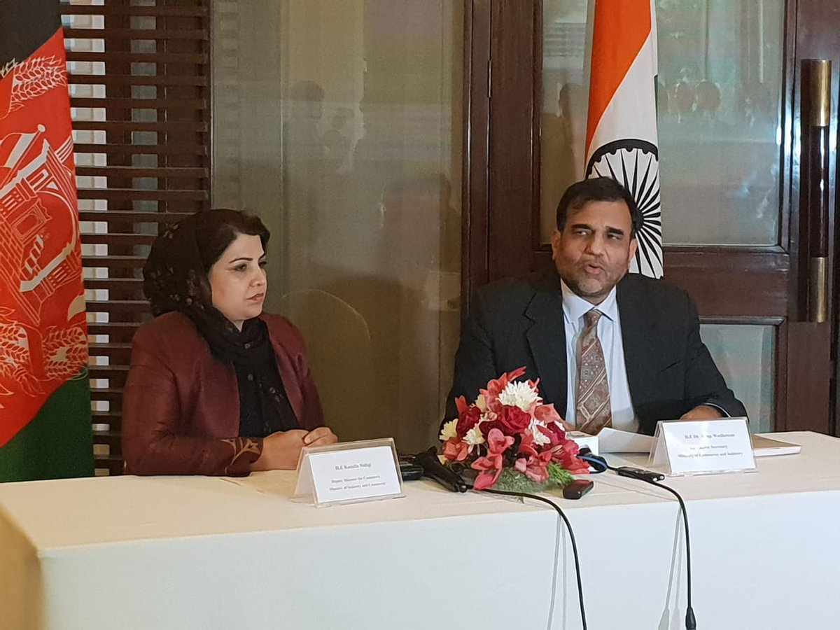 Commerce Secretary Dr Anup Wadhawan and Deputy Minister for Commerce Kamila Sidiqiui address the media following the third meeting of Joint Working Group on Trade, Commerce and Investment in Kabul today. @vkumar1969 @DoC_GoI
