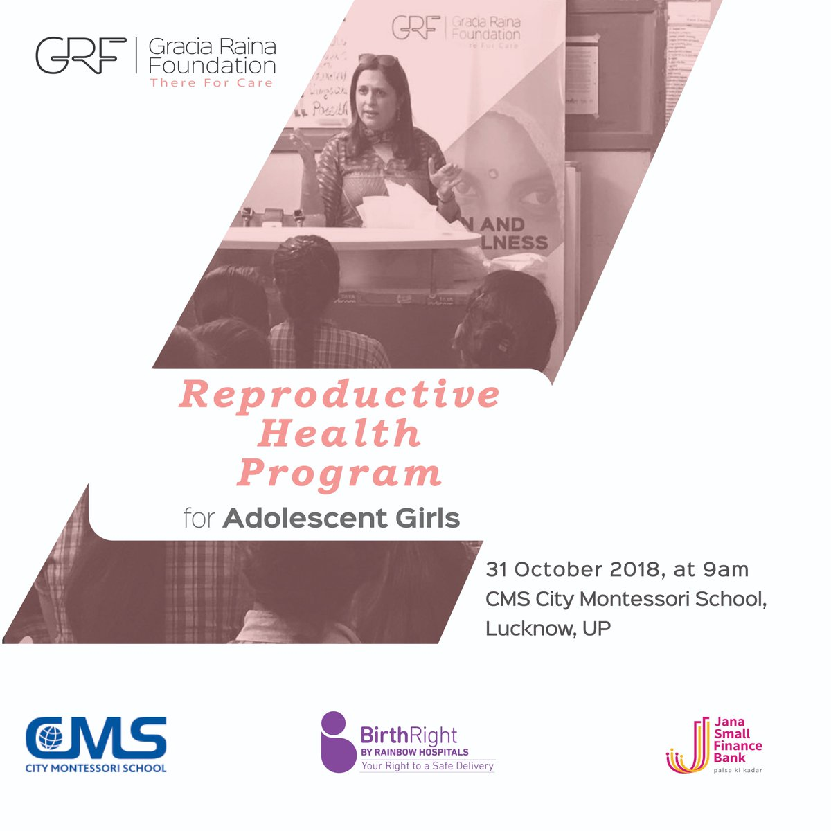 #GRF is conducting its another workshop from #ReproductiveHealthProgram for 400 Adolescence girls in #Lucknow. This program will help them make an informed decision about their health & well-being. #reproductivehealth #adolescent