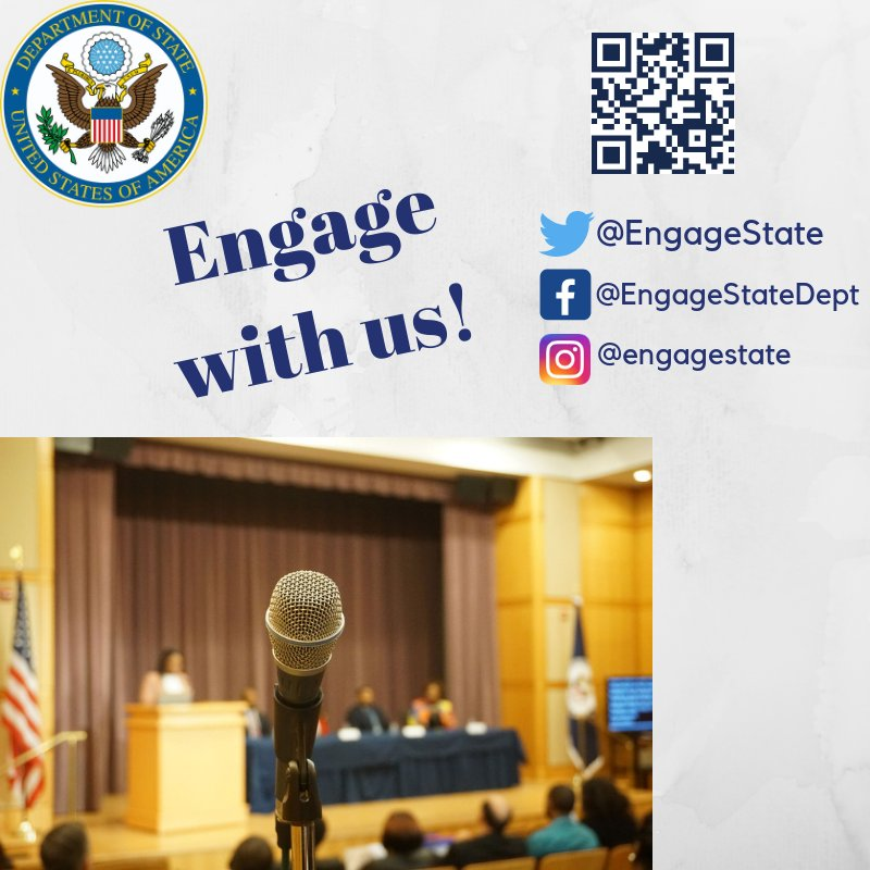 Engage with us!  Learn more about how you can stay connected with the U.S. Department of State #State4States #EngageAmerica → https://t.co/St70v3hpvq https://t.co/qwZ8tS2TIp