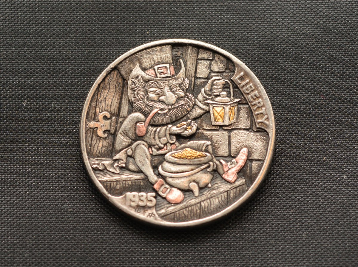 Narimantas Palsis On Twitter My Latest Hobonickel Leprechaun 24k Gold And Copper Inlays Last Day On Ebay Https T Co Ib0f7kput5 Coins Coin Handengraved Handengraving Engraving Engraved Buffalonickel Https T Co Bmf6ar4yj9