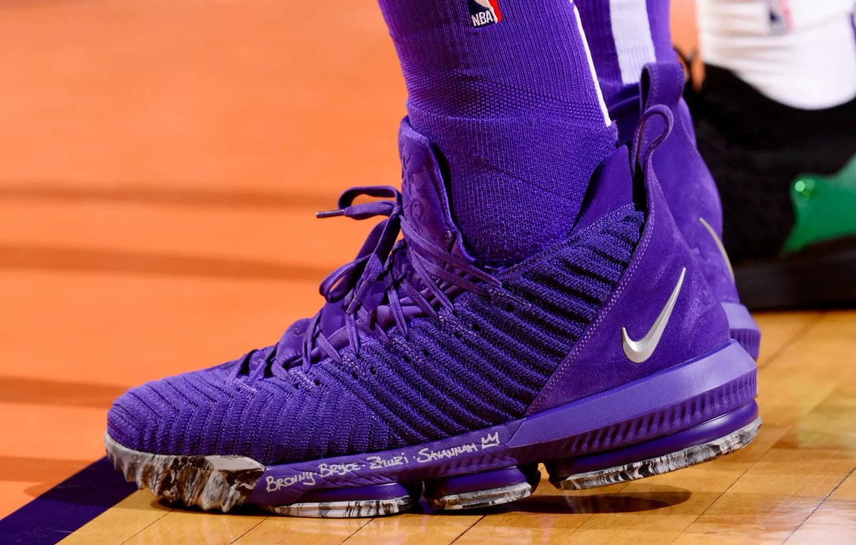 4a2795d4a3ac kingjames debuts all purple nike lebron 16s for the lakers first win .