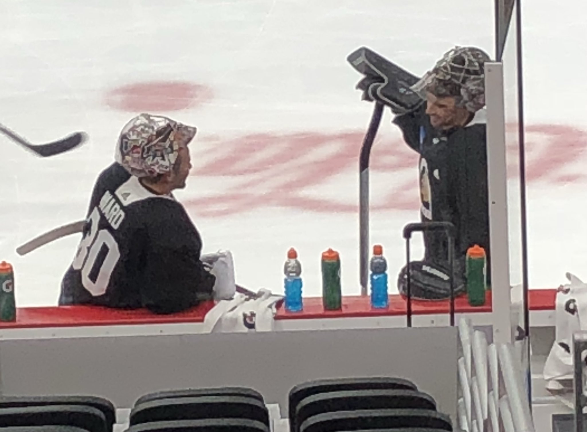 Scott Foster practicing with the Blackhawks this morning   hawks 185343a093fa