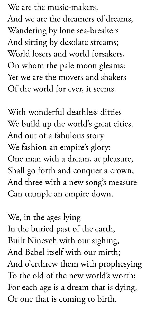 ode by arthur o shaughnessy
