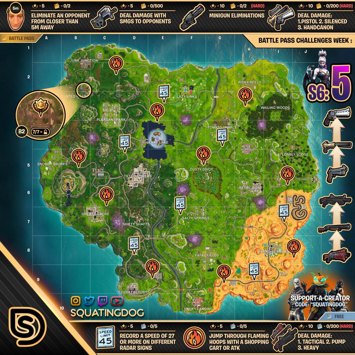 Cheat Sheet Fortnite Season 6 Week 5 Challenges