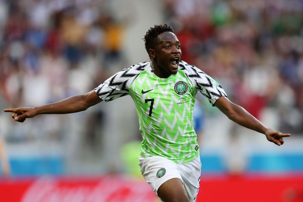 Nigerias Ahmed Musa Celebrates Scoring Against Iceland At The  Fifa World Cup Russia In Volgograd