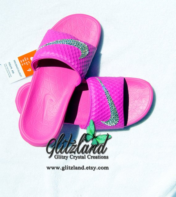 54cfb13c8366 Swarovski Nike Pink Benassi Slides   Flip Flops Blinged with SWAROVSKI®  Crystals  BlingedNikeBenassi