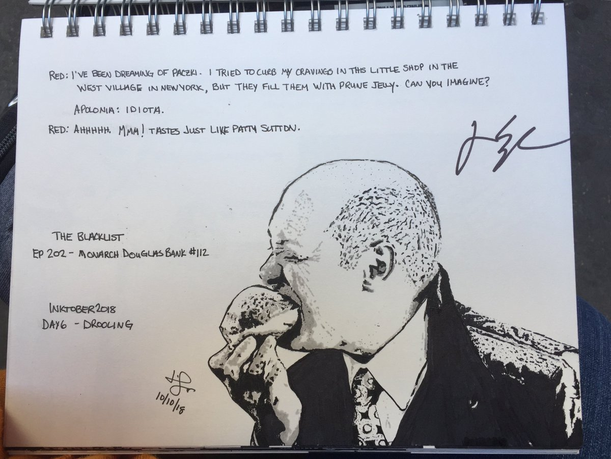 "Today I met #JamesSpader. He was kind and signed one of my Inktober pieces. He seemed amused at the choice (but come on, prompt for drooling? ""...tastes just like Patty Sutton""? Who could resist?). Also, he smells nice. #JustFYI @NBCBlacklist<br>http://pic.twitter.com/jBGQ8Vyx68"